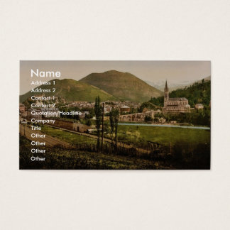 General view, Lourdes, Pyrenees, France vintage Ph Business Card