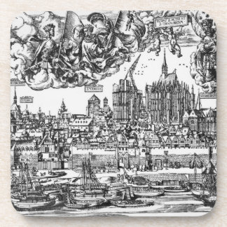 General View of Cologne, 1531 (engraving) (b/w pho Beverage Coasters