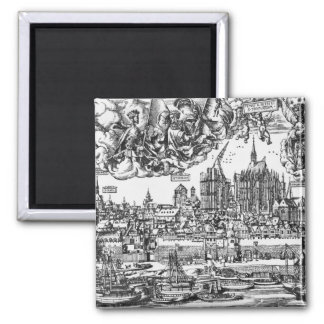 General View of Cologne, 1531 (engraving) (b/w pho 2 Inch Square Magnet