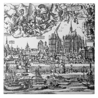 General View of Cologne, 1531 (engraving) (b/w pho Ceramic Tiles