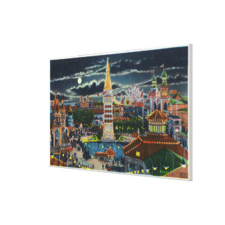 General View of Luna Park at Night Gallery Wrapped Canvas