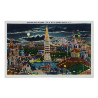 General View of Luna Park at Night Poster