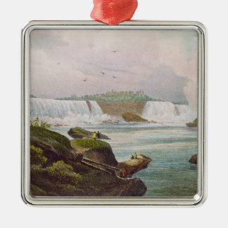 General View of Niagara Falls from Canadian Side Square Metal Christmas Ornament