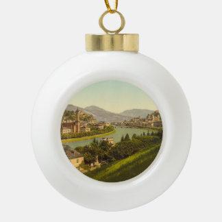 General View of Salzburg, Austria Ceramic Ball Christmas Ornament