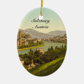 General View of Salzburg, Austria Double-Sided Oval Ceramic Christmas Ornament