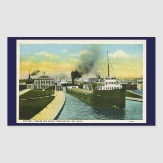 General View of Soo Locks from below, Soo, MI Rectangular Sticker