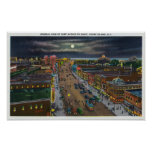 General View of Surf Avenue at Night Posters