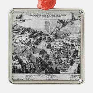General view of the battle of Muhlberg Square Metal Christmas Ornament