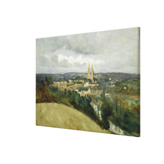 General View of the Town of Saint-Lo, c.1833 Canvas Print