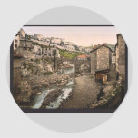 General view, Thiers, France vintage Photochrom Round Sticker