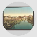 General view with the cathedral, San Raphael, Ital Round Sticker