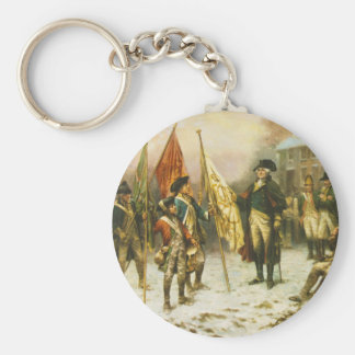 General Washington Inspecting the Captured Colors Basic Round Button Keychain