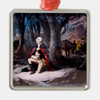 General Washington Praying at Valley Forge, PA Square Metal Christmas Ornament