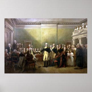 General Washington que dimite a su Comisión Posters