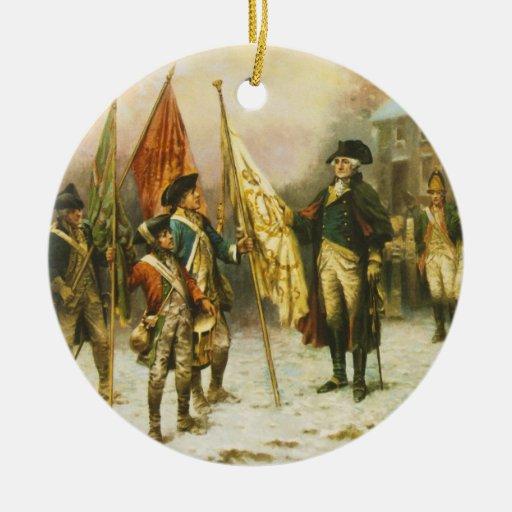 General Washington que examina los colores Adorno Navideño Redondo De Cerámica