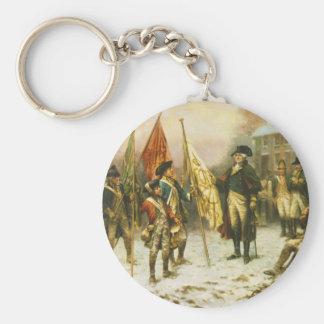 General Washington que examina los colores captura Llavero Redondo Tipo Pin