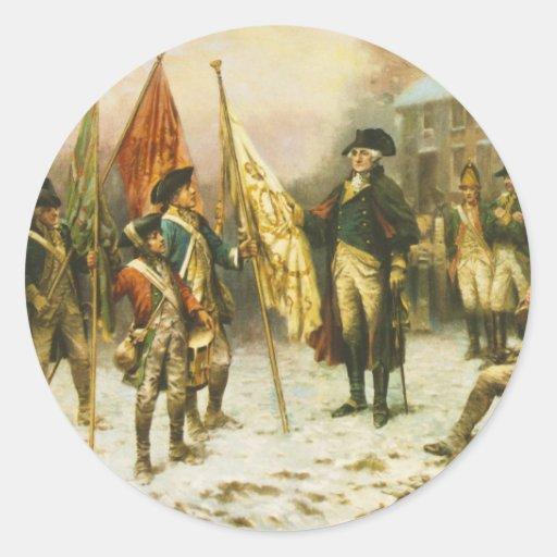 General Washington que examina los colores Pegatina Redonda