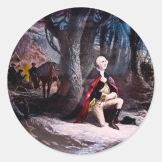 General Washington que ruega en la fragua del Pegatina Redonda