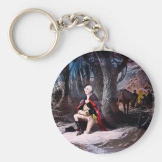 General Washington que ruega en la fragua del vall Llavero Redondo Tipo Pin
