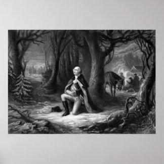 General Washington que ruega en la fragua del vall Posters