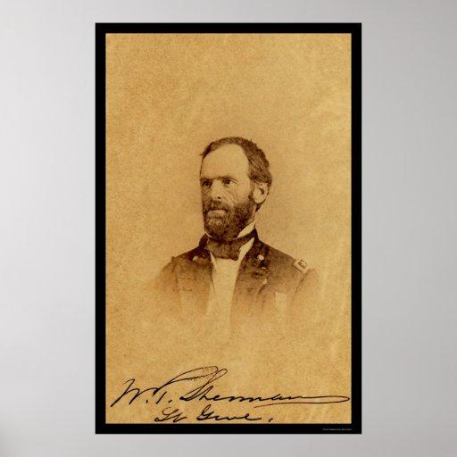 General William Sherman Signed Card 1862 Print