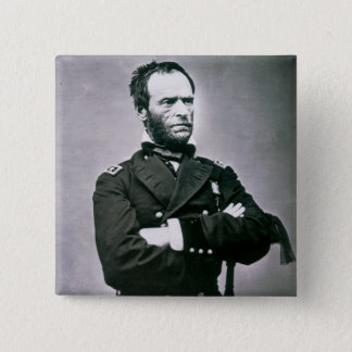 General William T. Sherman (1820-91) (b/w photo) Button