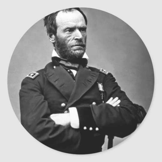 General William Tecumseh Sherman, 1865. Classic Round Sticker