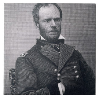 General William Tecumseh Sherman, engraved after a Ceramic Tile
