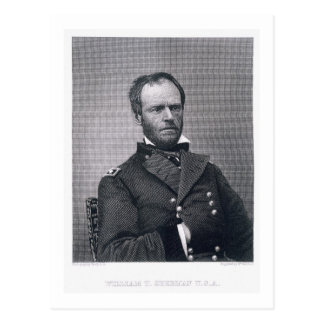 General William Tecumseh Sherman engraved after a Postcard