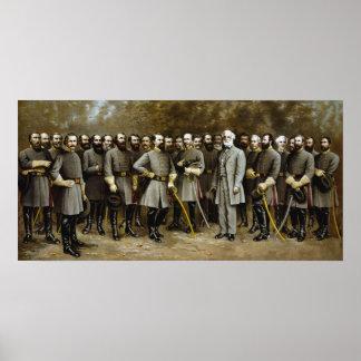 Generales confederados de la guerra civil póster