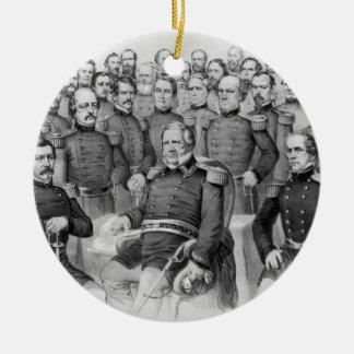 Generales de la guerra civil del ornamento de la adorno navideño redondo de cerámica