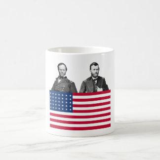 Generales Sherman y Grant de la guerra civil Taza Básica Blanca