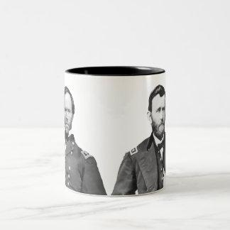 Generales Sherman y Grant Taza De Café De Dos Colores