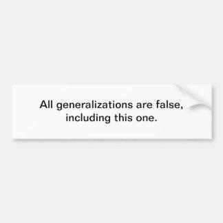 Generalizations Car Bumper Sticker