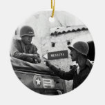 Generaly George S. Patton and Colonel Lyle Bernard Christmas Ornaments