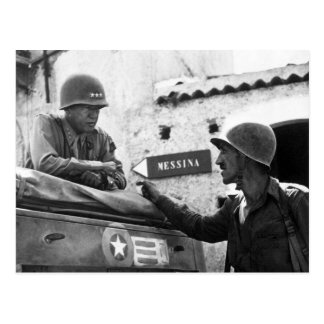Generaly George S. Patton and Colonel Lyle Bernard Postcard