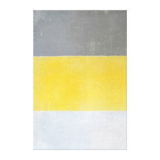 'Generated' Grey and Yellow Abstract Art Canvas Print