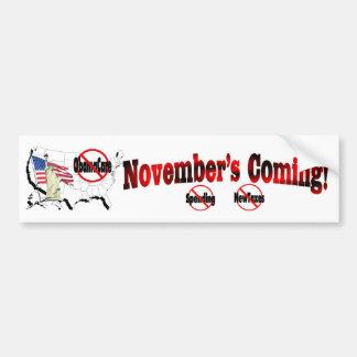 Generic Anti ObamaCare – November's Coming! Bumper Sticker