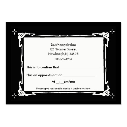Generic appointment 2 large business cards pack of 100 for Generic business cards