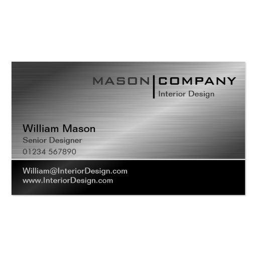Generic black steel corporate business card zazzle for Generic business cards