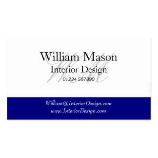 Generic Blue White Monogram Business Card Business Card