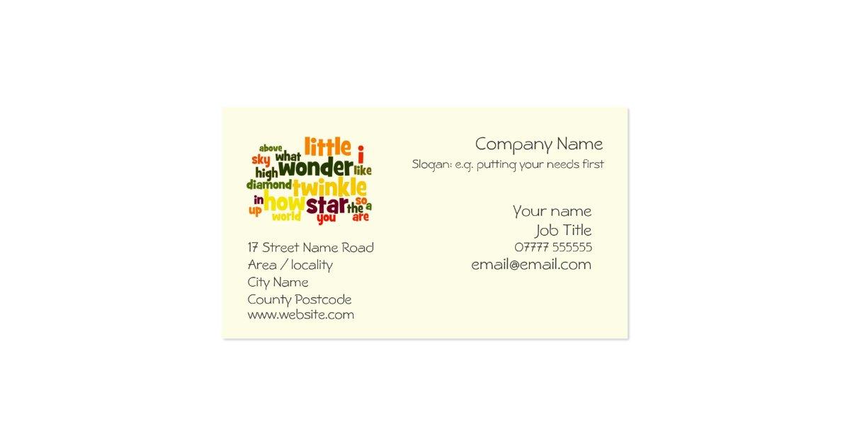 generic business card template zazzle