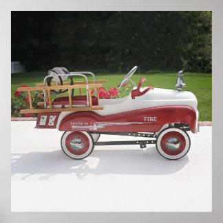 Generic Childs Metal Pedal Car Firetruck Car Poster