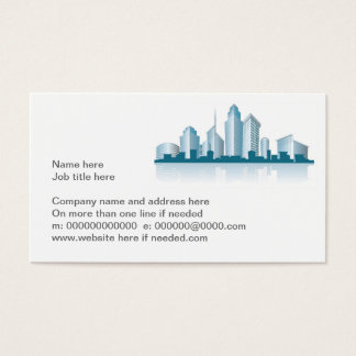 generic city skyline with offices and towers and s business card