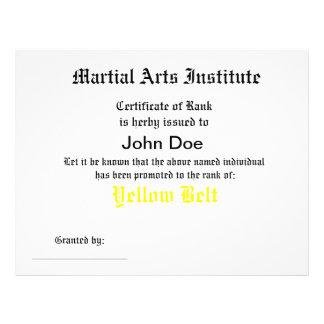Generic Martial Arts Certificate Letterhead