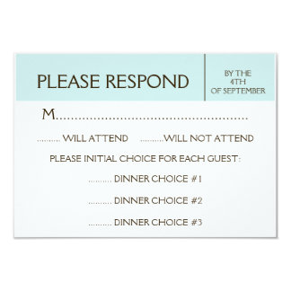 "Generic Pale Blue RSVP Response Card 3.5"" X 5"" Invitation Card"