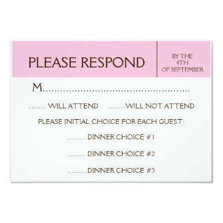 "Generic Pale Pink RSVP Response Card 3.5"" X 5"" Invitation Card"