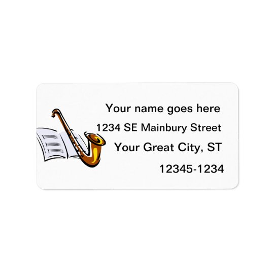 Generic saxophone with sheet music graphic image label