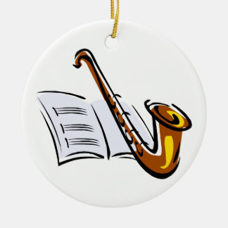 Generic saxophone with sheet music graphic image Double-Sided ceramic round christmas ornament