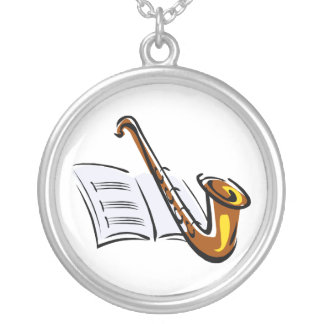 Generic saxophone with sheet music graphic image round pendant necklace
